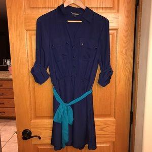 Express Royal Blue Portofino Shirt Dress